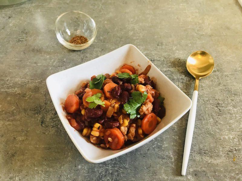 chili sin carne protéines de soja sans viande recette végétarienne