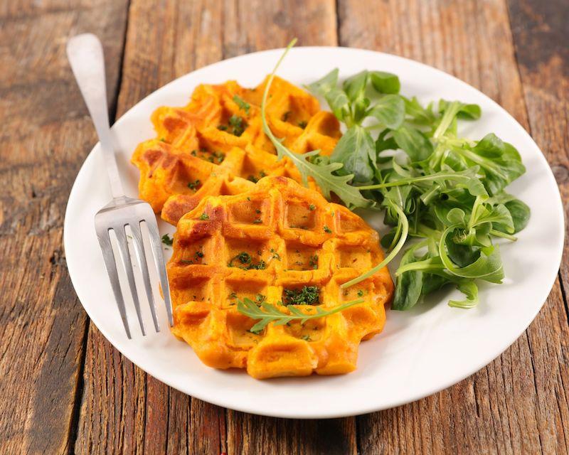gaufre patates douces vegan recette salée healthy